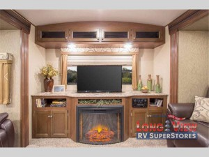 Dutchmen Denali travel trailer fireplace