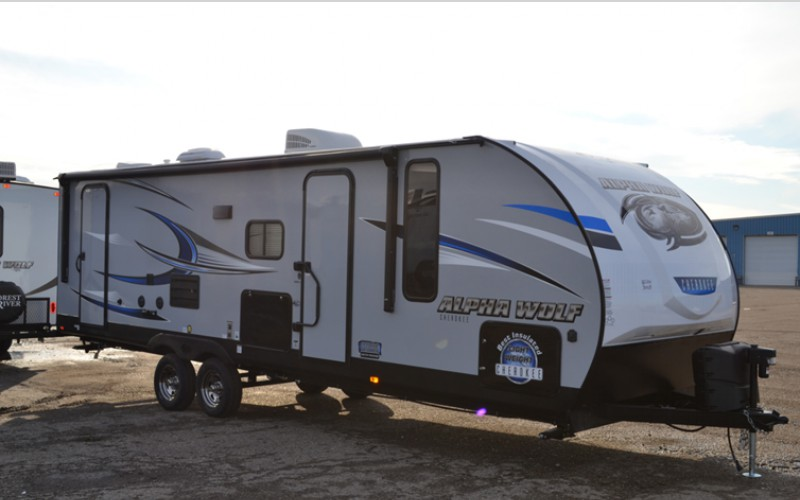 outside of alpha wolf travel trailer
